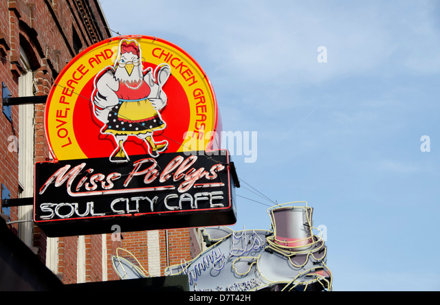 Tennessee, Memphis. Famous Beale Street. Miss Polly's Soul City Cafe, sign. - Stock Image