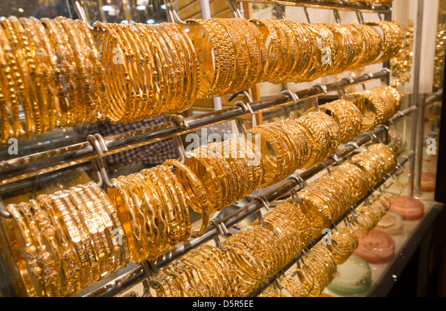 Jewelery shop in  Mutrah  Gold Souk in Muscat Oman Middle East - Stock Image