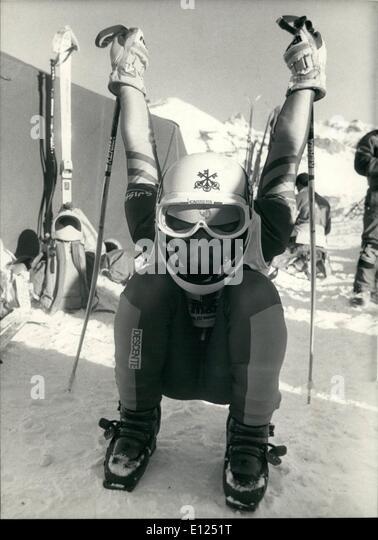 Jan. 01, 1987 - Preparing for downhill-races: Wednesday the ski world championships in Crans-Montana will start - Stock Image