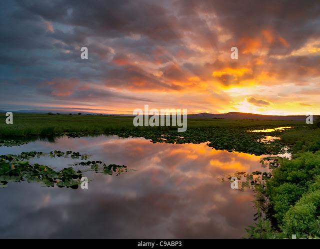 Sunrise at Klamath Marsh National Wildlife Refuge, Oregon - Stock-Bilder