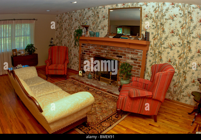 Interior wallpaper fireplace stock photos interior for Chaise guest house