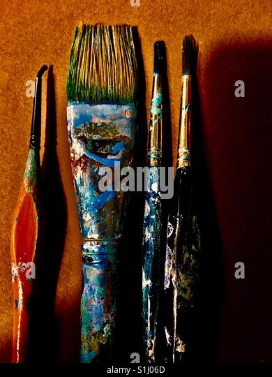 Artist Paint brushes used - Stock Image