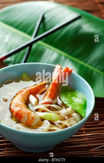 asian style shrimp and noodles - Stock Image