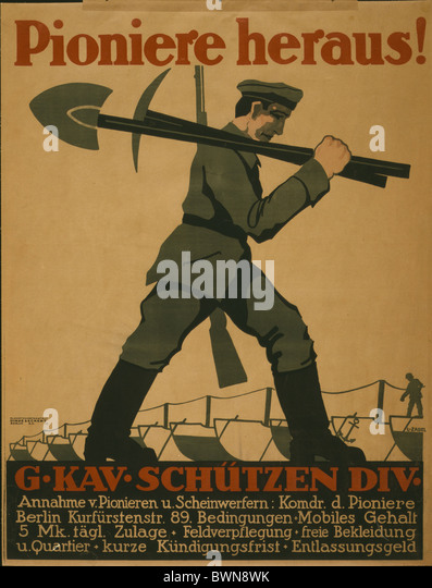 1918 Poster soldier carrying shovel pickax rifle Berlin history historical historic propaganda German Empi - Stock Image
