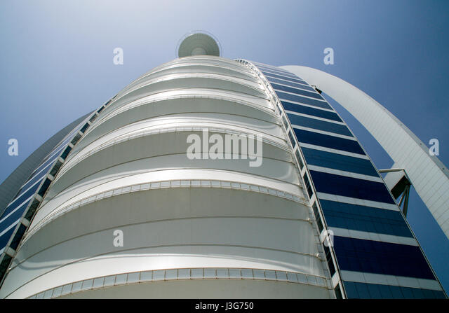 Looking up to the helicopter pad at the top of the Burj Al Arab Hotel in Dubai. - Stock Image
