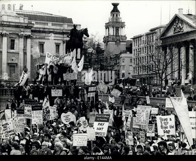 Apr. 04, 2012 - More than 4,000 nurses marcher in London Trafalgar Square from all over Britain to stage a mass - Stock Image