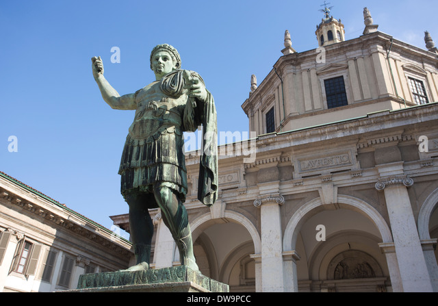 Statua di Costantino, located in front of the St Lorenzo Maggiore Basilica, Milano, Italy - Stock Image