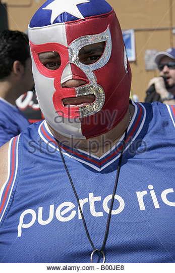 celebration wrestler man character mask Puerto Rico Puerto Rican entertainer - Stock Image
