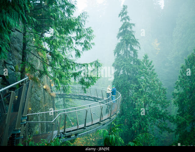 The Cliffwalk attraction at Capilano Suspension Bridge Park in North Vancouver, British Columbia, Canada - Stock Image