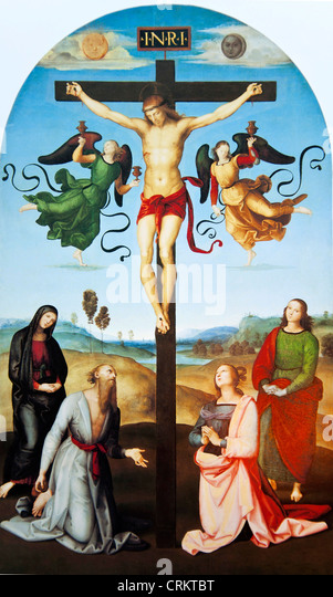 The Crucified Christ with the Virgin Mary Saints and Angels (The Mond Crucifixion)  -Raphael - Stock Image