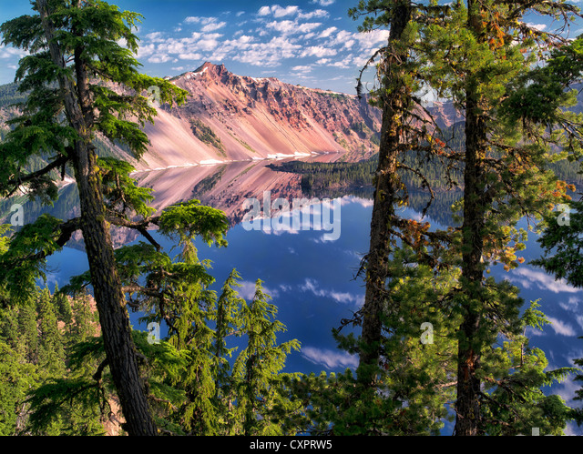 Crater Lake reflection and The Watchman peak. Crater Lake National Park, Oregon - Stock Image