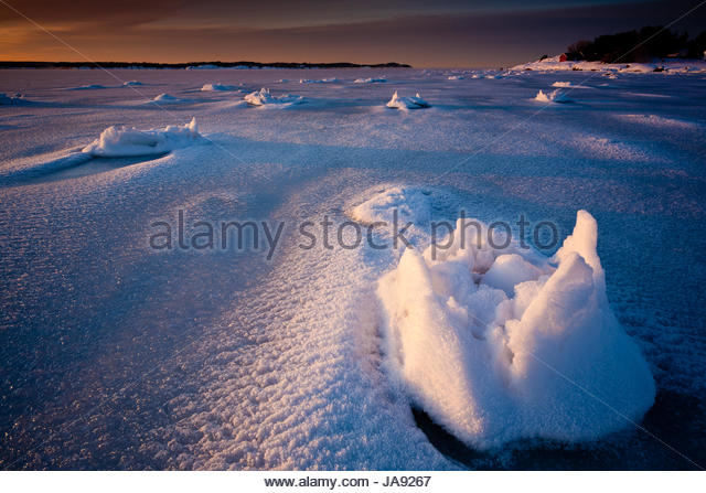 Frosty February morning at Kurefjorden in Rygge, Østfold, Norway. - Stock-Bilder