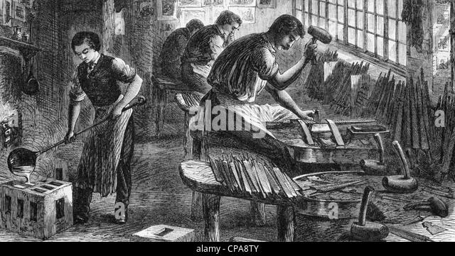 SHEFFIELD STEEL INDUSTRY Workers in a file cutting factory in 1866 - Stock-Bilder