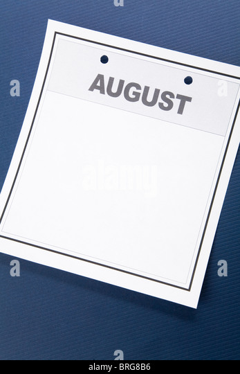 Blank Calendar, August, with blue background - Stock Image