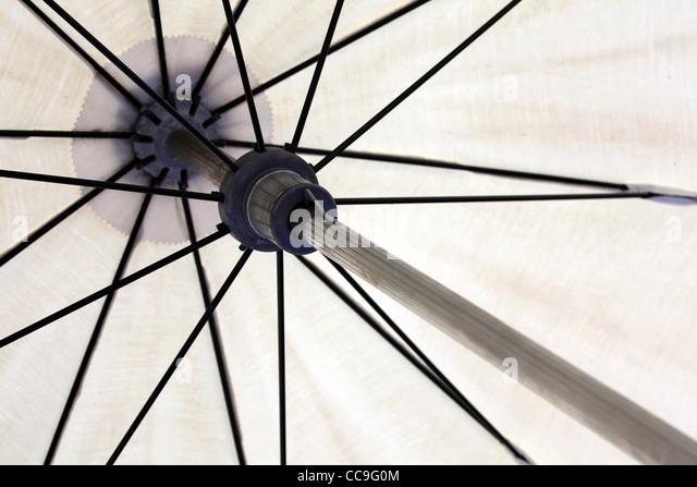 Inside of parasol. Close-up. - Stock Image