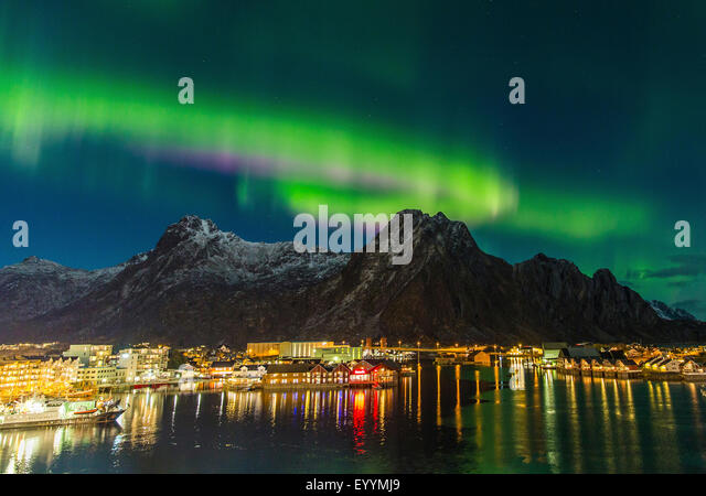 polar light above Svolaer, Norway, Lofoten Islands, Svolvaer - Stock-Bilder