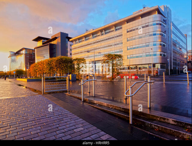 View of the Alexander Bain House and the Scottish Government buildings at sunset, Glasgow, Scotland, United Kingdom - Stock-Bilder