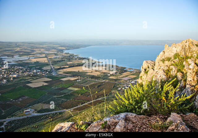 Israel, Lower Galilee, The Sea of Galilee as seen from Arbel mountain - Stock Image