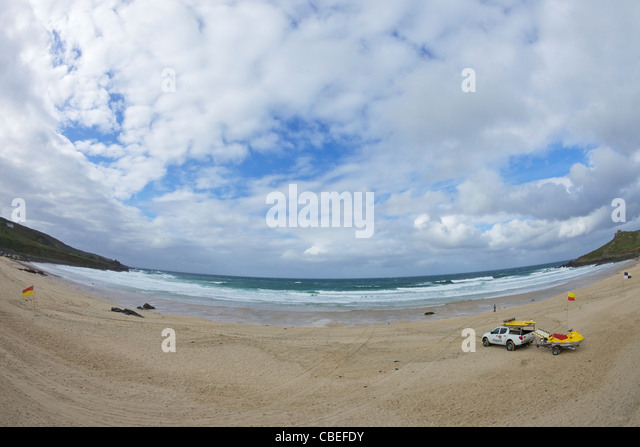RNLI Lifeguards on Porthmeor beach, Atlantic ocean, St Ives, Cornwall, Southwest, England, UK, United Kingdom, GB, - Stock Image