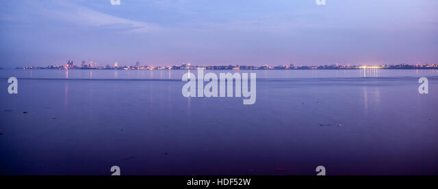 Kinshasa skyline. Photo taken from Brazzaville across Congo river at sunset. Panoramic photo suitable for travel - Stock-Bilder