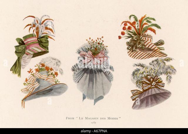 Hat Styles For 1787 - Stock-Bilder