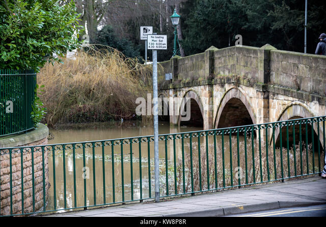 Melton Mowbray 31st December 2017: Flooded areas in town center, river Wreake flows southwest, passing through the - Stock Image