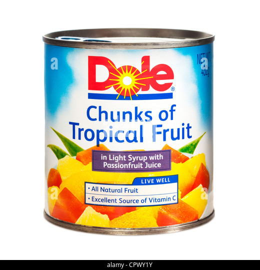 Can of Dole Chunks of Tropical Fruit in Light Syrup with Passion Fruit ...