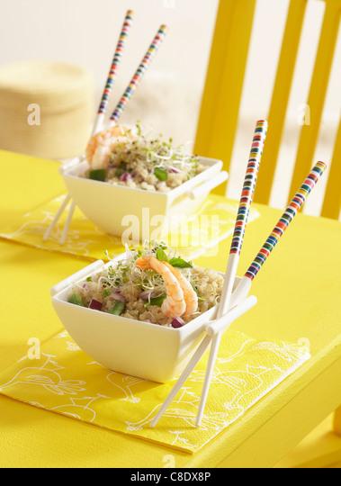Quinoa,shrimp and young shoot salad - Stock Image