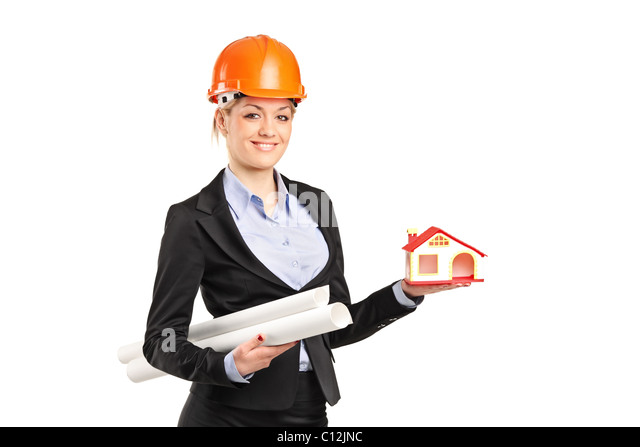 A smiling forewoman holding a model house and blueprints - Stock-Bilder