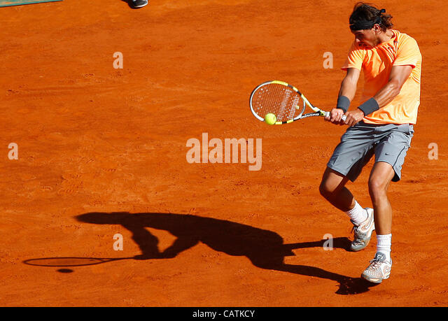 21.04.2012 Monte Carlo, Monaco.Rafael Nadal (ESP) in action against  Gilles Simon (FRA) during the S-Finall of the - Stock Image