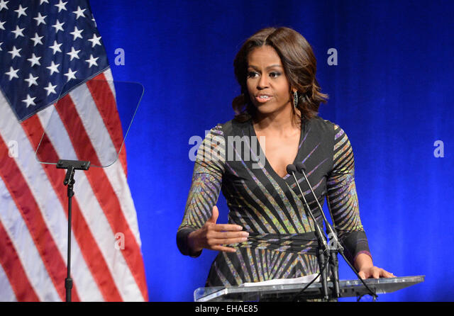 US First Lady Michelle Obama speaks at the launch of the mental health initiative Campaign to Change Direction at - Stock Image