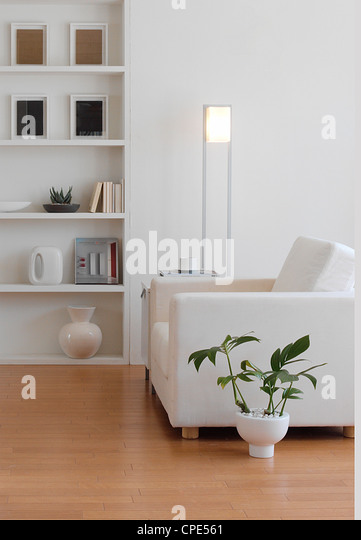 Showcase Interior And Sofa In Drawing Room - Stock Image