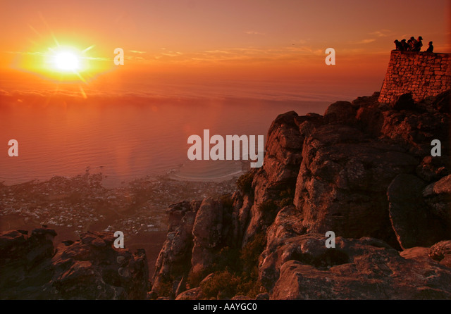 south africa cape town table mountain view point sunset - Stock Image