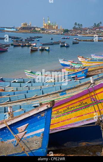 Vizhinjam, fishing harbour near Kovalam, Kerala, India, Asia - Stock Image