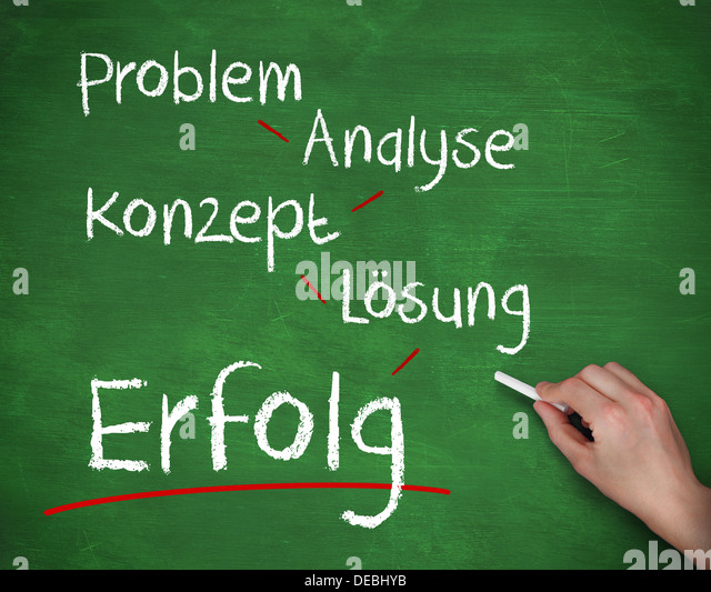 Hand writing problem analyse konzept losung and erfolg with chalk - Stock-Bilder