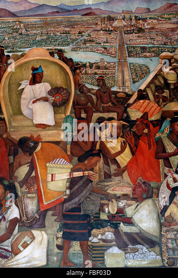 Tenochtitlan aztec city stock photos tenochtitlan aztec for Diego rivera tenochtitlan mural