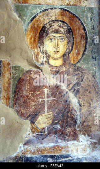 Saint Natalia. Artist: Ancient Russian frescos - Stock Image