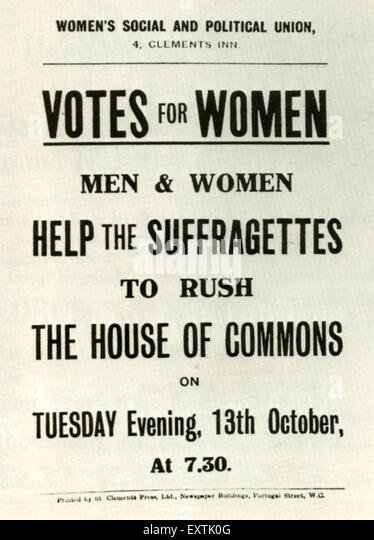 1900s UK Women's Social and Political Union Poster - Stock Image