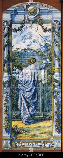 June tile panel, by Sir Edward Poynter. Britain, 1866 - Stock-Bilder