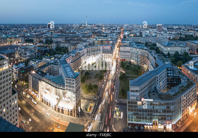 Panoramic View from Kollhoff Tower,  Leibziger Platz,   Tower, Berlin, Germany, - Stock Image