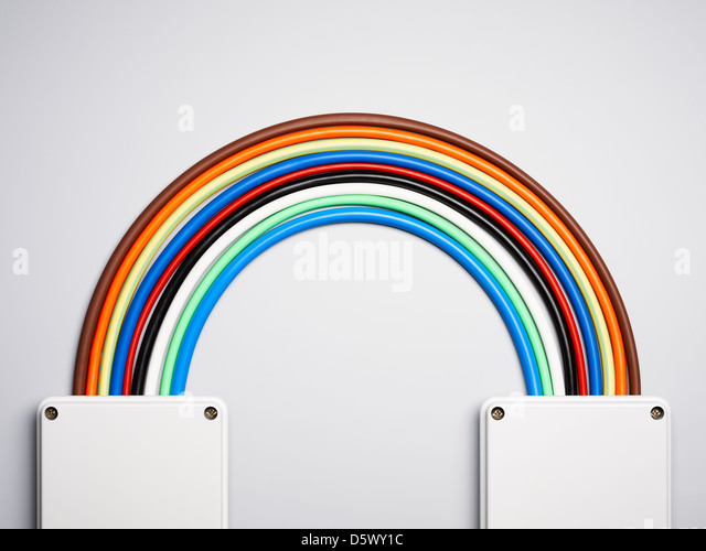 Colorful cords in rainbow shape - Stock Image