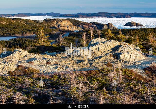 Rugged Coastal Landscape - Crow Head, Twillingate, Newfoundland, Canada - Stock Image