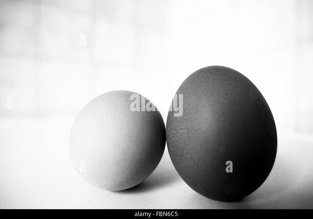 Eggs On White Table - Stock Image