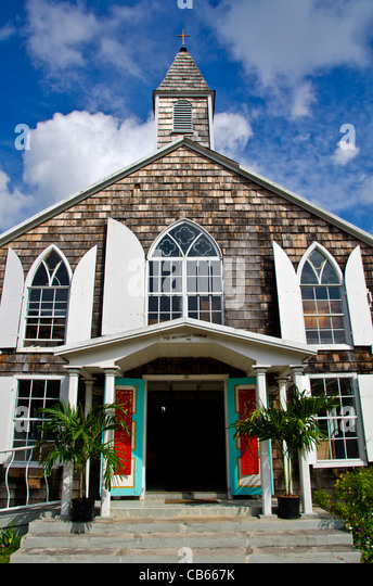 St Maarten Philipsburg Methodist Church with red banner Christmas decoration - Stock Image