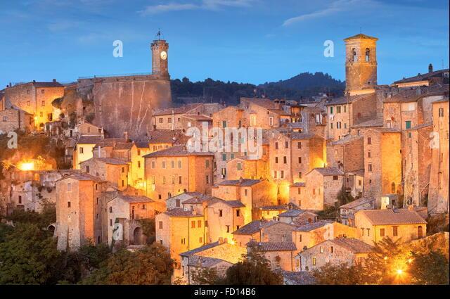 Evening view ot Sorano, Tuscany, Italy - Stock Image