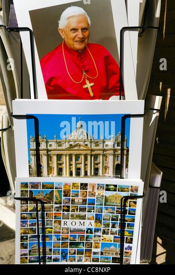 Postcards of Rome and Pope Pope Benedict XVI Vatican City Rome Italy - Stock Image
