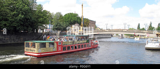 Pleasure boat craft on the Spree river, Berlin,Germany - MS Angela - Stock Image