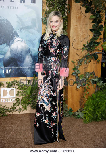 "Cast member Margot Robbie poses at the premiere of the movie ""The Legend of Tarzan"" in Hollywood, California, - Stock Image"