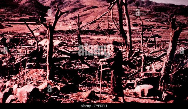 Destruction of Nagasaki, Japan After Atomic Bomb Explosion, 1945 - Stock Image