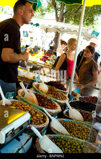 Arles, France - Street Scene Outside,Women Shopping, Public Farmers Market, Local Food Products - Stock Image